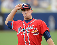11 April 2008: Infielder Greg Creek (25) of the Mississippi Braves, Class AA affiliate of the Atlanta Braves, in a game against the Mobile BayBears at Trustmark Park in Pearl, Miss. Photo by:  Tom Priddy/Four Seam Images