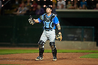 Hudson Valley Renegades catcher Taylor Hawkins (15) during a game against the Vermont Lake Monsters on September 3, 2015 at Centennial Field in Burlington, Vermont.  Vermont defeated Hudson Valley 4-1.  (Mike Janes/Four Seam Images)