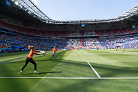 LYON, FRANCE - JULY 07: Netherlands goalkeepers warm up during a game between Netherlands and USWNT at Stade de Lyon on July 07, 2019 in Lyon, France.