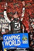 NASCAR Camping World Truck Series<br /> Toyota Tundra 250<br /> Kansas Speedway, Kansas City, KS USA<br /> Friday 12 May 2017<br /> Kyle Busch, Cessna Toyota Tundra celebrates his win in Victory Lane<br /> World Copyright: Nigel Kinrade<br /> LAT Images<br /> ref: Digital Image 17KAN1nk07135