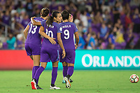 Orlando, FL - Saturday September 02, 2017: Alex Morgan, Marta Vieira Da Silva celebrate a goal during a regular season National Women's Soccer League (NWSL) match between the Orlando Pride and the Boston Breakers at Orlando City Stadium.