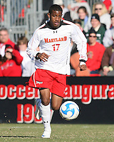 Jeremy Hall #17 of the University of Maryland during an NCAA championship round of sixteen soccer match against the University of California at Ludwig Field, on November 29, 2008 in College Park, Maryland. The match was won by Maryland 2-1