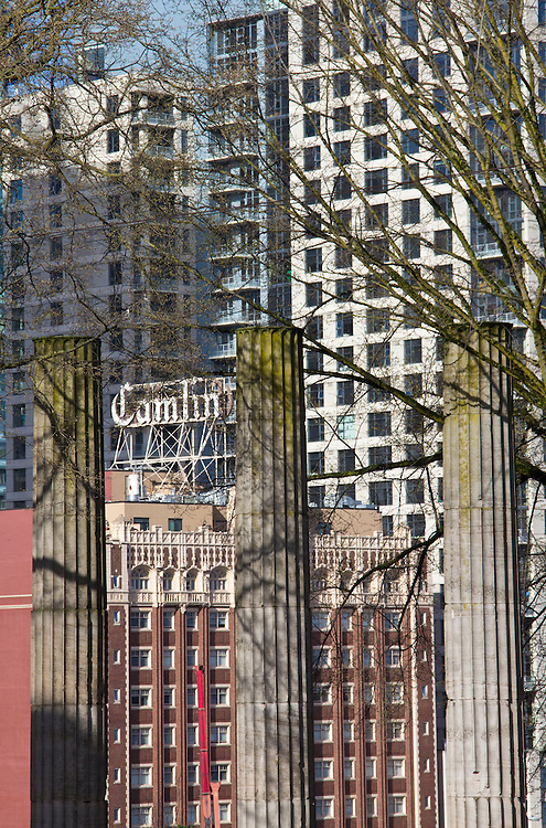 Seattle, downtown, new condo construction, Plymouth Pillars Park, cityscape, urban growth,