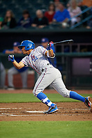 Round Rock Express third baseman Luis Marte (14) follows through on a swing during a game against the Memphis Redbirds on April 28, 2017 at AutoZone Park in Memphis, Tennessee.  Memphis defeated Round Rock 9-1.  (Mike Janes/Four Seam Images)