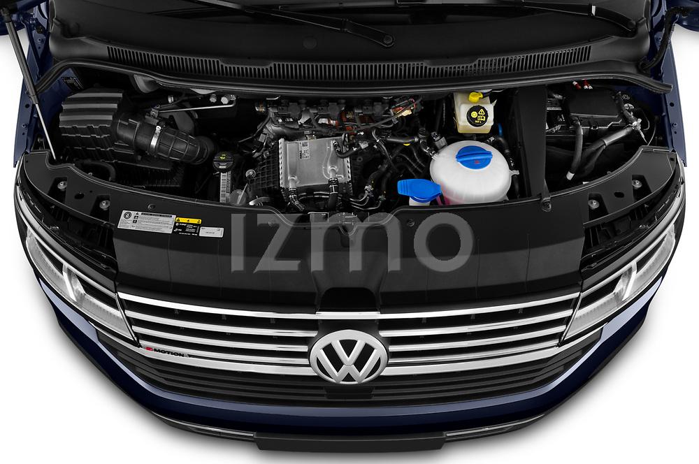 Car Stock 2020 Volkswagen Caravelle Highline 5 Door Passenger Van Engine  high angle detail view