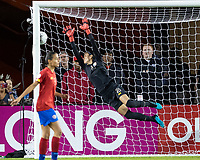 HOUSTON, TX - FEBRUARY 03: The first US goal by Christen Press #20 of the USA past Priscilla Tapia #18 of Costa Rica during a game between Costa Rica and USWNT at BBVA Stadium on February 03, 2020 in Houston, Texas.