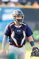 Mississippi Braves catcher Shea Langeliers (4) warms up during the game against the Tennessee Smokies at Smokies Stadium on July 15, 2021, in Kodak, Tennessee. (Danny Parker/Four Seam Images)