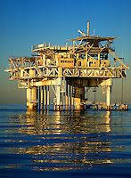 A producing well of natural gas and oil 5 miles offshore. Santa Barbara California United States Santa Barbara channel.