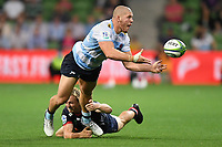 19th March 2021; Melbourne Rectangular Stadium, Melbourne, Victoria, Australia; Australian Super Rugby, Melbourne Rebels versus New South Wales Waratahs; Joe Powell of the Rebels tackles Carlo Tizzano of the Waratahs