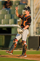 Catcher Michael Ohlman #19 of the Delmarva Shorebirds lets his team know there are two outs at Fieldcrest Cannon Stadium May 12, 2010, in Kannapolis, North Carolina.  Photo by Brian Westerholt / Four Seam Images