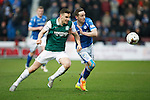 Hibs v St Johnstone...30.01.16   Utilita Scottish League Cup Semi-Final, Tynecastle..<br /> Paul Hanlon and Steven MacLean battle for the ball<br /> Picture by Graeme Hart.<br /> Copyright Perthshire Picture Agency<br /> Tel: 01738 623350  Mobile: 07990 594431