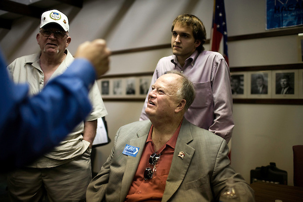 September 12, 2008. Raleigh, NC..  Responding to the highly contested race for the US Senate seat of North Carolina between herself and the incumbent, Elizabeth Dole, Kay Hagan held  a town hall meeting at a  VFW hall in  Raleigh, NC to raise awareness of her veterans policy.. Hagan was joined at the meeting by former US Senator from Georgia, Max Cleland, center, an outspoken critic of the Bush war policy.