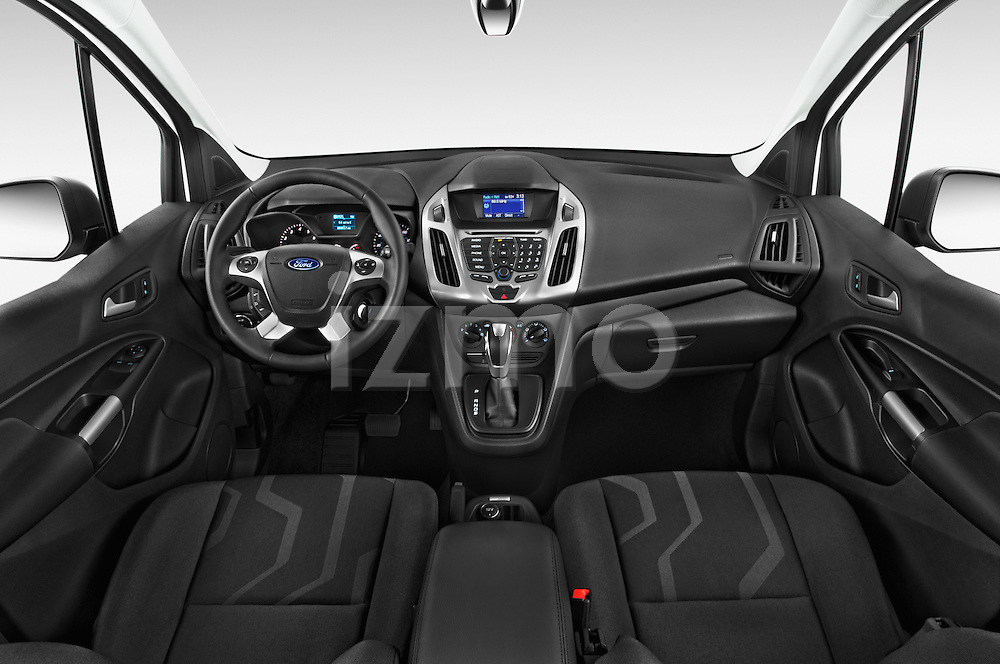 Stock photo of straight dashboard view of a 2015 Ford Transit Connect XLT 4 Door Car Van Dashboard