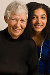 family portrait grandmother with 19 year old grandaughter vertical biracial African American and Caucasian