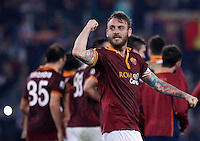Calcio, Serie A: Roma vs ChievoVerona. Roma, stadio Olimpico, 31 ottobre 2013.<br /> AS Roma midfielder Daniele De Rossi celebrates at the end of the Italian Serie A football match between AS Roma and ChievoVerona at Rome's Olympic stadium, 31 October 2013. AS Roma won 1-0.<br /> UPDATE IMAGES PRESS/Isabella Bonotto