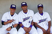 (L-R) Luis Sierra #7, Jose Martinez #40 and Kyle Davis #1 prior to the game against the Wilmington Blue Rocks at BB&T Ballpark on April 23, 2011 in Winston-Salem, North Carolina.   Photo by Brian Westerholt / Four Seam Images