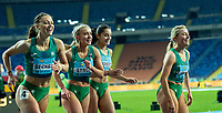 2nd May 2021; Silesian Stadium, Chorzow, Poland; World Athletics Relays 2021. Day 2; Irish women's silver medalists run to their supporters after the 4 x 200m. Becker, Lynch, Doherty & Quinn all in frame
