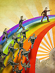 Group of business people walking on rainbow depicting the concept of leadership