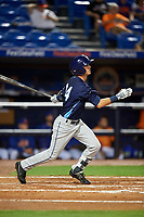 Charlotte Stone Crabs left fielder Justin Bridgman (24) follows through on a swing during the second game of a doubleheader against the St. Lucie Mets on April 24, 2018 at First Data Field in Port St. Lucie, Florida.  St. Lucie defeated Charlotte 5-3.  (Mike Janes/Four Seam Images)