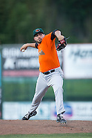 Augusta GreenJackets relief pitcher Tyler Cyr (14) in action against the Kannapolis Intimidators at Intimidators Stadium on May 30, 2016 in Kannapolis, North Carolina.  The GreenJackets defeated the Intimidators 5-3.  (Brian Westerholt/Four Seam Images)
