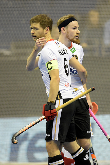 Berlin, Germany, February 09: During the FIH Indoor Hockey World Cup Pool A group match between Germany (white) and Trinidad and Tobago(red) on February 9, 2018 at Max-Schmeling-Halle in Berlin, Germany. Final score 10-2. (Photo by Dirk Markgraf / www.265-images.com) *** Local caption *** Martin HAENER #6 of Germany Christopher RUEHR #17 of Germany