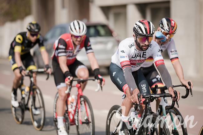 Fernando Gaviria (COL/UAE-Emirates) in the front group<br /> <br /> 81st Gent-Wevelgem 'in Flanders Fields' 2019<br /> One day race (1.UWT) from Deinze to Wevelgem (BEL/251km)<br /> <br /> ©kramon