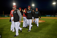 Batavia Muckdogs Bryce Howe, Tyler Kopek, and Remey Reed high five teammates after a NY-Penn League game against the Auburn Doubledays on June 14, 2019 at Dwyer Stadium in Batavia, New York.  Batavia defeated 2-0.  (Mike Janes/Four Seam Images)