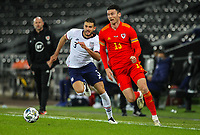 12th November 2020; Liberty Stadium, Swansea, Glamorgan, Wales; International Football Friendly; Wales versus United States of America; Kieffer Moore of Wales goes past Matt Miazga of USA