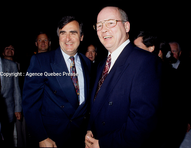 """Montreal (Qc) CANADA - File Photo - May 1996 -<br /> <br /> Lucien Bouchard,  Leader Parti Quebecois (from Jan 29, 1996 to March 2, 2001). seen in a May 1996 file photo with Michel Gauthier, who replaced Bouchard as Bloc Quebecois Leader<br /> <br /> After the Yes side lost the 1995 referendum, Parizeau resigned as Quebec premier. Bouchard resigned his seat in Parliament in 1996, and became the leader of the Parti Qu»b»cois and premier of Quebec.<br /> <br /> On the matter of sovereignty, while in office, he stated that no new referendum would be held, at least for the time being. A main concern of the Bouchard government, considered part of the necessary conditions gagnantes (""""winning conditions"""" for the feasibility of a new referendum on sovereignty), was economic recovery through the achievement of """"zero deficit"""". Long-term Keynesian policies resulting from the """"Quebec model"""", developed by both PQ governments in the past and the previous Liberal government had left a substantial deficit in the provincial budget.<br /> <br /> Bouchard retired from politics in 2001, and was replaced as Quebec premier by Bernard Landry."""