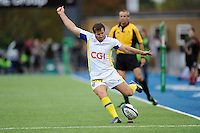 Camille Lopez of ASM Clermont Auvergne takes a conversion attempt during the European Rugby Champions Cup  Round 1 match between Saracens and ASM Clermont Auvergne at the Twickenham Stoop on Saturday 18th October 2014 (Photo by Rob Munro)