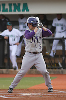 James Madison University outfielder Colby Roberts #3 at bat during a game against the Coastal Carolina Chanticleers at Watson Stadium at Vrooman Field on February 17, 2012 in Conway, SC.  Coastal Carolina defeated James Madison 7-1.  (Robert Gurganus/Four Seam Images)