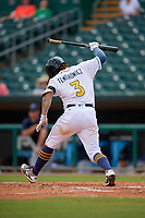 Montgomery Biscuits Robbie Tenerowicz (3) slams his bat after an at bat during a Southern League game against the Mobile BayBears on May 2, 2019 at Riverwalk Stadium in Montgomery, Alabama.  Mobile defeated Montgomery 3-1.  (Mike Janes/Four Seam Images)