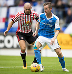 St Johnstone v Sunderland…15.07.17… McDiarmid Park… Pre-Season Friendly<br />Steven MacLean and Darron Gibson<br />Picture by Graeme Hart.<br />Copyright Perthshire Picture Agency<br />Tel: 01738 623350  Mobile: 07990 594431