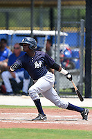 GCL Yankees 2 second baseman Junior Valera (92) at bat during a game against the GCL Blue Jays on July 2, 2014 at the Bobby Mattick Complex in Dunedin, Florida.  GCL Yankees 2 defeated GCL Blue Jays 9-6.  (Mike Janes/Four Seam Images)