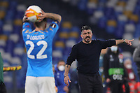 Gennaro Gattuso coach of SSC Napoli reacts during the Europa League round of 32, 2nd leg football match between SSC Napoli and Granada CF at Diego Armando Maradona stadium in Napoli (Italy), February 25, 2021.<br /> Photo Cesare Purini / Insidefoto