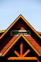 Interesting architecture of the front of a home in Mecklenburg County, North Carolina.