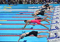 August 01, 2012..LtoR: Cammile Adams, Zsuzsanna Jakobos, Natsumi Hoshi, Kathleen Hersey, Liuyang Jiao, Mireia Belmonte Garcia, Zige Liu, Jemma Lowe compete in Women's 200m Butterfly Final at the Aquatics Center on day five of 2012 Olympic Games in London, United Kingdom.