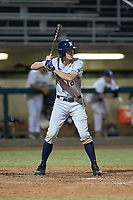Ethan Schmidt (16) of the Xavier Musketeers at bat against the Penn State Nittany Lions at Coleman Field at the USA Baseball National Training Center on February 25, 2017 in Cary, North Carolina. The Musketeers defeated the Nittany Lions 7-5 in game two of a double header. (Brian Westerholt/Four Seam Images)