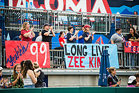 TACOMA, WA - JULY 31: OL Reign fans before a game between Racing Louisville FC and OL Reign at Cheney Stadium on July 31, 2021 in Tacoma, Washington.