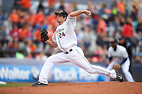 Akron RubberDucks pitcher Ryan Merritt (24) delivers a pitch during a game against the New Britain Rock Cats on May 21, 2015 at Canal Park in Akron, Ohio.  Akron defeated New Britain 4-2.  (Mike Janes/Four Seam Images)