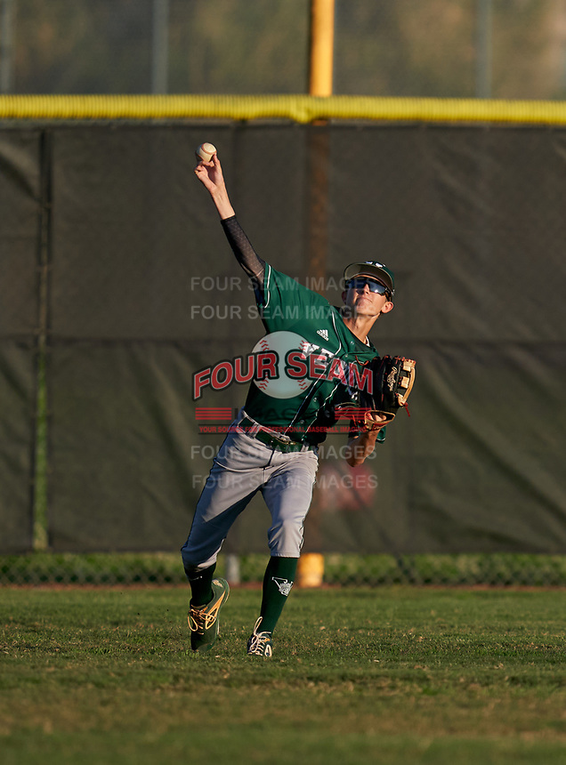 Venice Indians outfielder Jeffery Fulcher (3) during warmups before a game against the Braden River Pirates on February 25, 2021 at Braden River High School in Bradenton, Florida.  (Mike Janes/Four Seam Images)