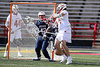 College Park, MD - February 15, 2020: Maryland Terrapins attack Jared Bernhardt (1) scores a goal during the game between Penn and Maryland at  Capital One Field at Maryland Stadium in College Park, MD.  (Photo by Elliott Brown/Media Images International)