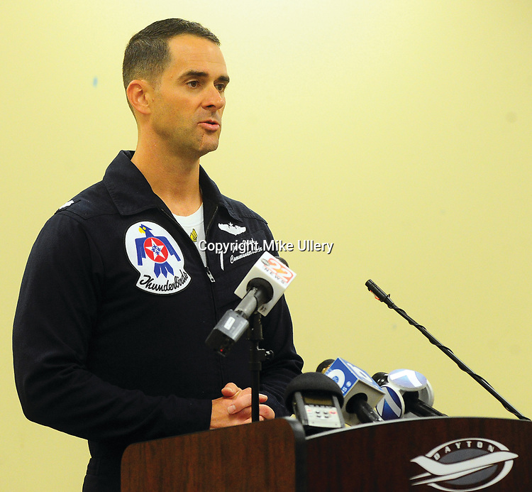 Mike Ullery   Daily Call<br /> Lt. Col. Jason Heard, Commanding Officer of the United States Air Force Thunderbirds addresses the media about the Friday afternoon mishap involving a Thunderbirds F-16 aircraft.
