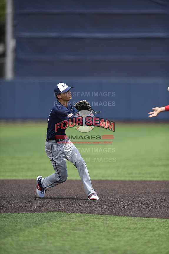TEMPORARY UNEDITED FILE:  Image may appear lighter/darker than final edit - all images cropped to best fit print size.  <br /> <br /> Under Armour All-American Game presented by Baseball Factory on July 19, 2018 at Les Miller Field at Curtis Granderson Stadium in Chicago, Illinois.  (Mike Janes/Four Seam Images) Carter Young is an infielder from Selah High School in Selah, Washington committed to Vanderbilt.