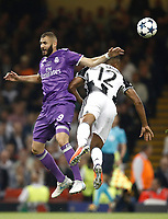 Calcio, Champions League: finale Juventus vs Real Madrid. Cardiff, Millennium Stadium, 3 giugno 2017.<br /> Real Madrid's Karim Benzema (l) in action with Juventus's Alex Sandro (r) during the Champions League final match between Juventus and Real Madrid at Cardiff's Millennium Stadium, Wales, June 3, 2017. Real Madrid won 4-1.<br /> UPDATE IMAGES PRESS/Isabella Bonotto