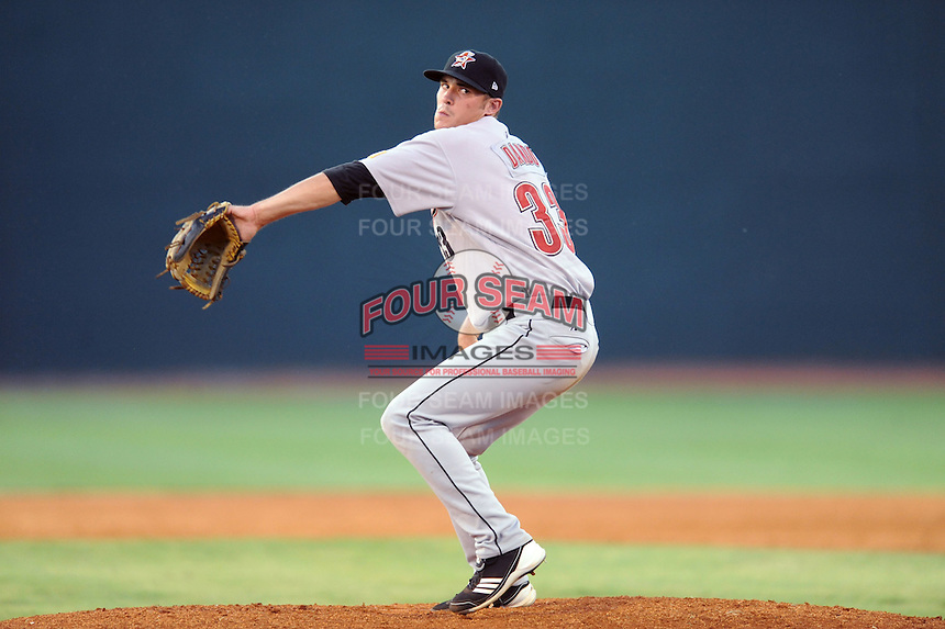 Greeneville Astros pitcher Zachary Dando #33 delivers  a pitch during a game against the Johnson City Cardinals at Howard Johnson Field on July 13, 2011 in Johnson City, Tennessee.  Greeneville won the game 7-4.   (Tony Farlow/Four Seam Images)