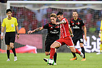 AC Milan Defender Lucas Biglia (L) fights for the ball with Bayern Munich Midfielder James Rodríguez (R) during the 2017 International Champions Cup China match between FC Bayern and AC Milan at Universiade Sports Centre Stadium on July 22, 2017 in Shenzhen, China. Photo by Marcio Rodrigo Machado/Power Sport Images