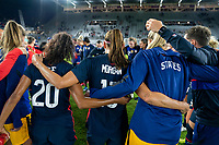 ORLANDO, FL - FEBRUARY 24: Margaret Purce #20 and Alex Morgan #13 of the USWNT huddle after a game between Argentina and USWNT at Exploria Stadium on February 24, 2021 in Orlando, Florida.
