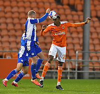 Blackpool's CJ Hamilton battles for the ball<br /> <br /> Photographer Dave Howarth/CameraSport<br /> <br /> The EFL Sky Bet League One - Blackpool v Wigan Athletic - Tuesday 3rd November 2020 - Bloomfield Road - Blackpool<br /> <br /> World Copyright © 2020 CameraSport. All rights reserved. 43 Linden Ave. Countesthorpe. Leicester. England. LE8 5PG - Tel: +44 (0) 116 277 4147 - admin@camerasport.com - www.camerasport.com