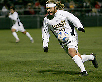 Joseph Lapira of Notre Dame collects a loose ball and races towards the Oakland goal. The University of Notre Dame defeated Oakland University 2-1 in the second round of the NCAA championship at Alumni Field at the University of Notre Dame in South Bend, Indiana on November 28, 2007.